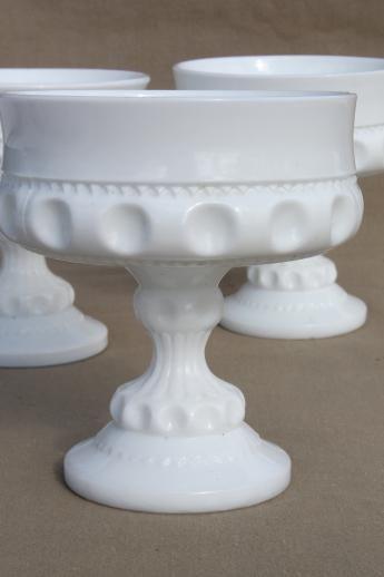 vintage milk glass bowls, Kings crown pattern Indi