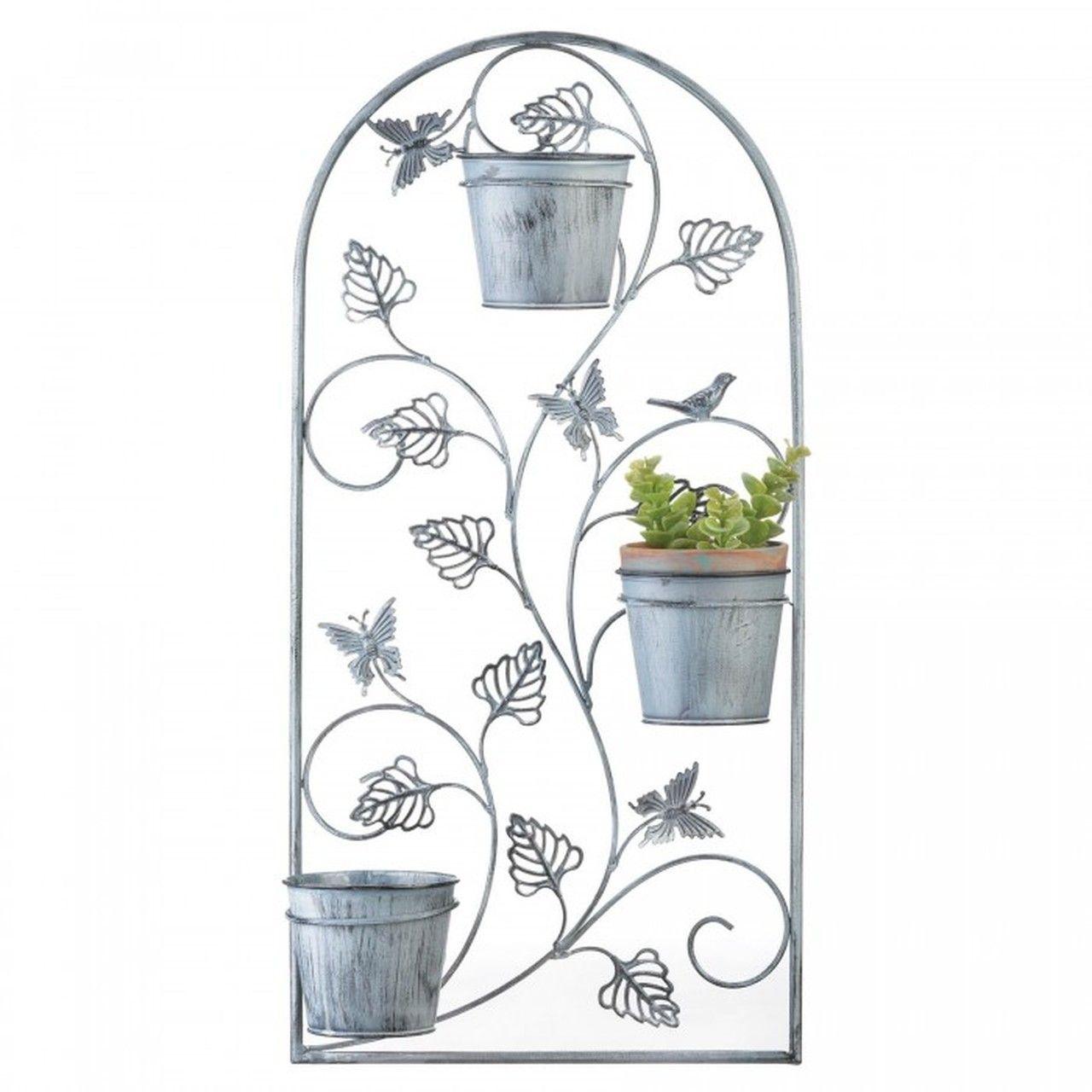 Butterfly Trellis Wall Planter With Metal Pots Flower Trellis Flower Pots Garden Wall Decor
