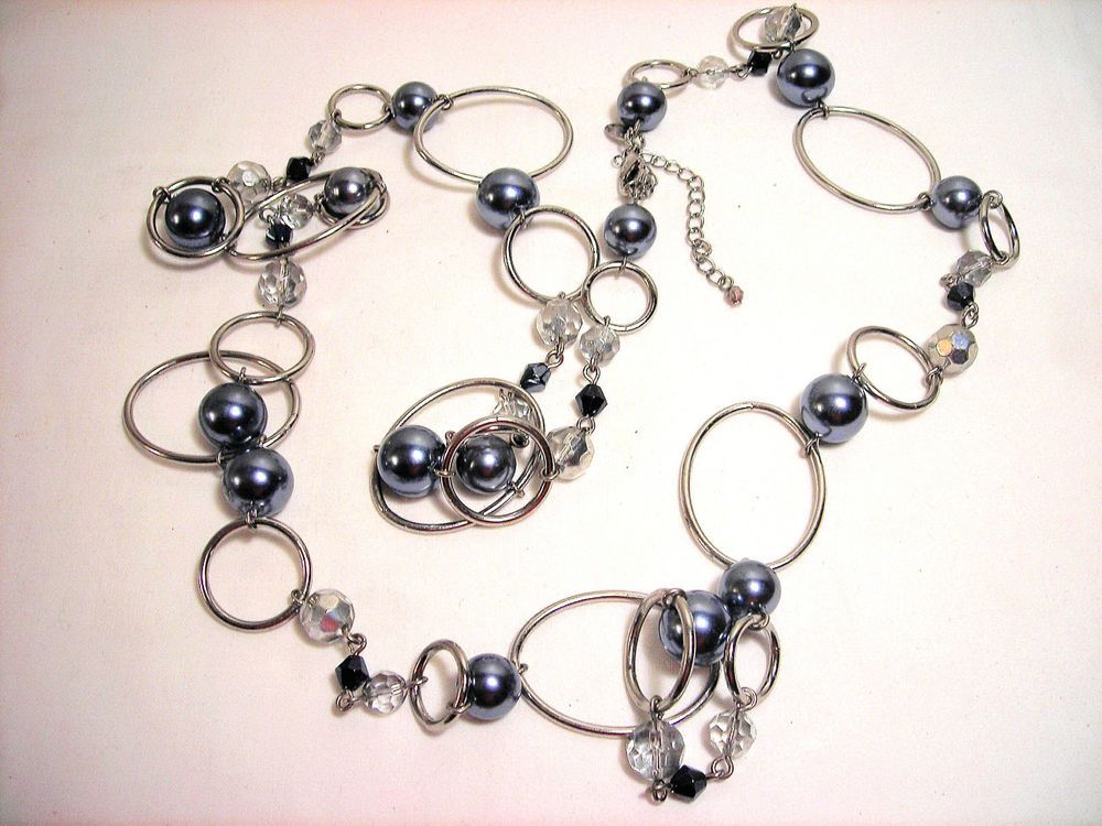 Lia Sophia Bead Gray Crystal Necklace Belt #LiaSophia