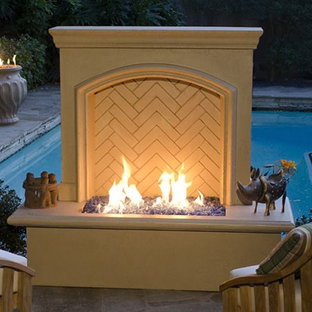 American Fyre Designs Arch Stone Firewall with Propane Storage  #LearnShopEnjoy · Indoor FireplacesModern FireplacesBackyard ... - American Fyre Designs Arch Stone Firewall With Propane Storage