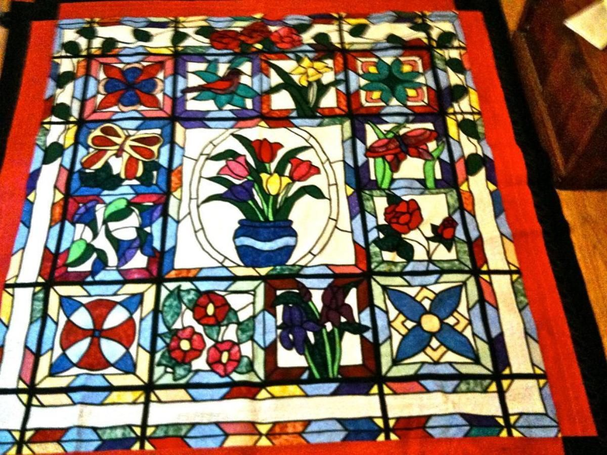 Stained Glass Quilt - Fuse pieces down and attach black bias tape ... : quilt fuse - Adamdwight.com