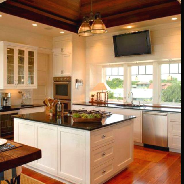 Inspired Me To Put Tv In My Kitchen Love It Kitchen Design Ceiling Fan In Kitchen Home Kitchens