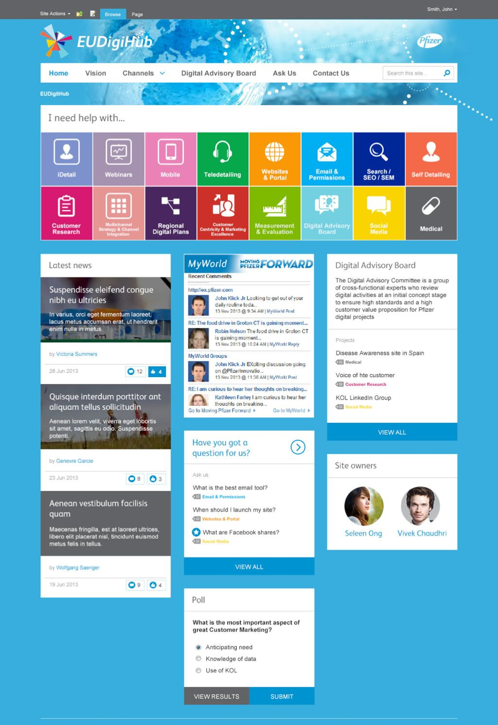 Pfizer draft home page sharepoints - Web application home page design ...