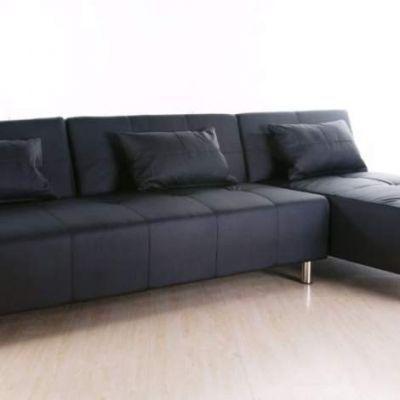 Atlanta Convertible Sectional Sofa Bed In Black Adc Atl Sec Pux