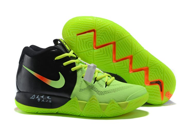 7b765801d7c0 2018 Nike Kyrie 4 Black Green Orange Basketball Shoes For Sale Online
