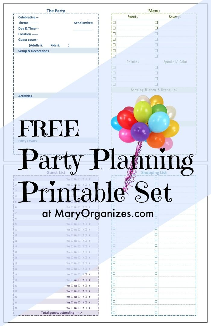 Party Planning Printable Set  Party Planning Birthdays And Babies