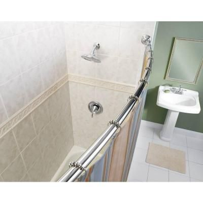 Moen 72 In Adjustable Curved Shower Rod In Chrome Dn2160ch