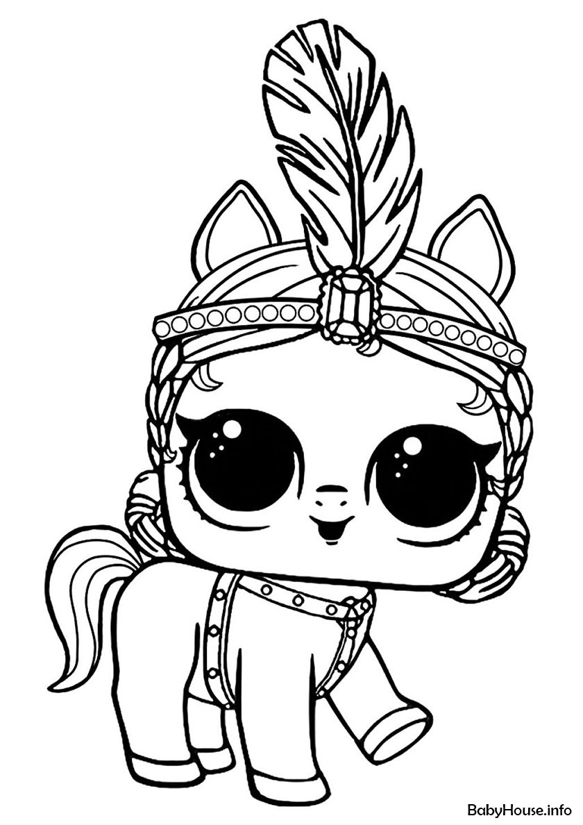 Showpony - high-quality free coloring from the category: L.O.L Pets. More  printable pictures on… | Puppy coloring pages, Unicorn coloring pages, Cool coloring  pages