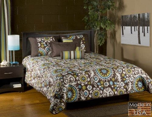Cosmo Blue And Green Paisley Bedding By Victor Mill Brown Bed
