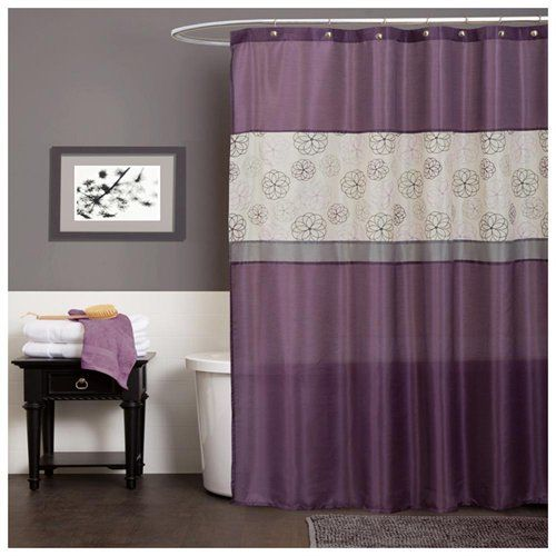 Mur Gris Rideaux Mauves Purple Bathrooms Purple Bathroom