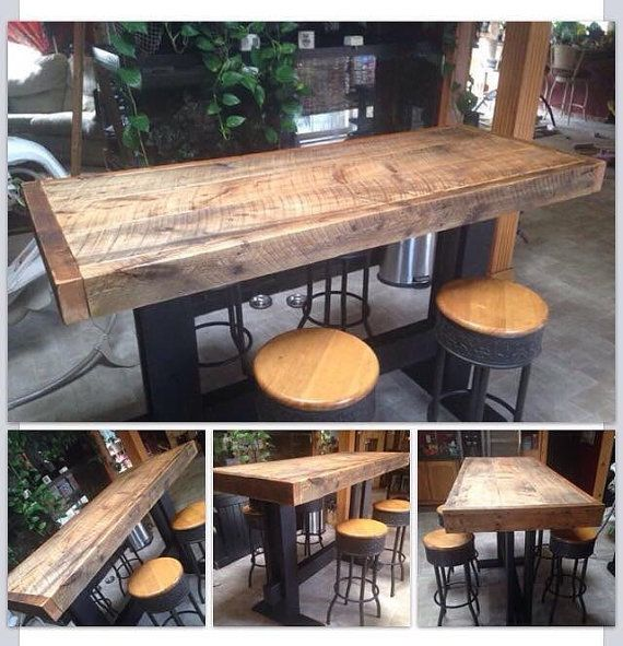 Farm style high top pub table dining harvest by exoticseaglass for the home pinterest high - Kitchen bar table ideas ...
