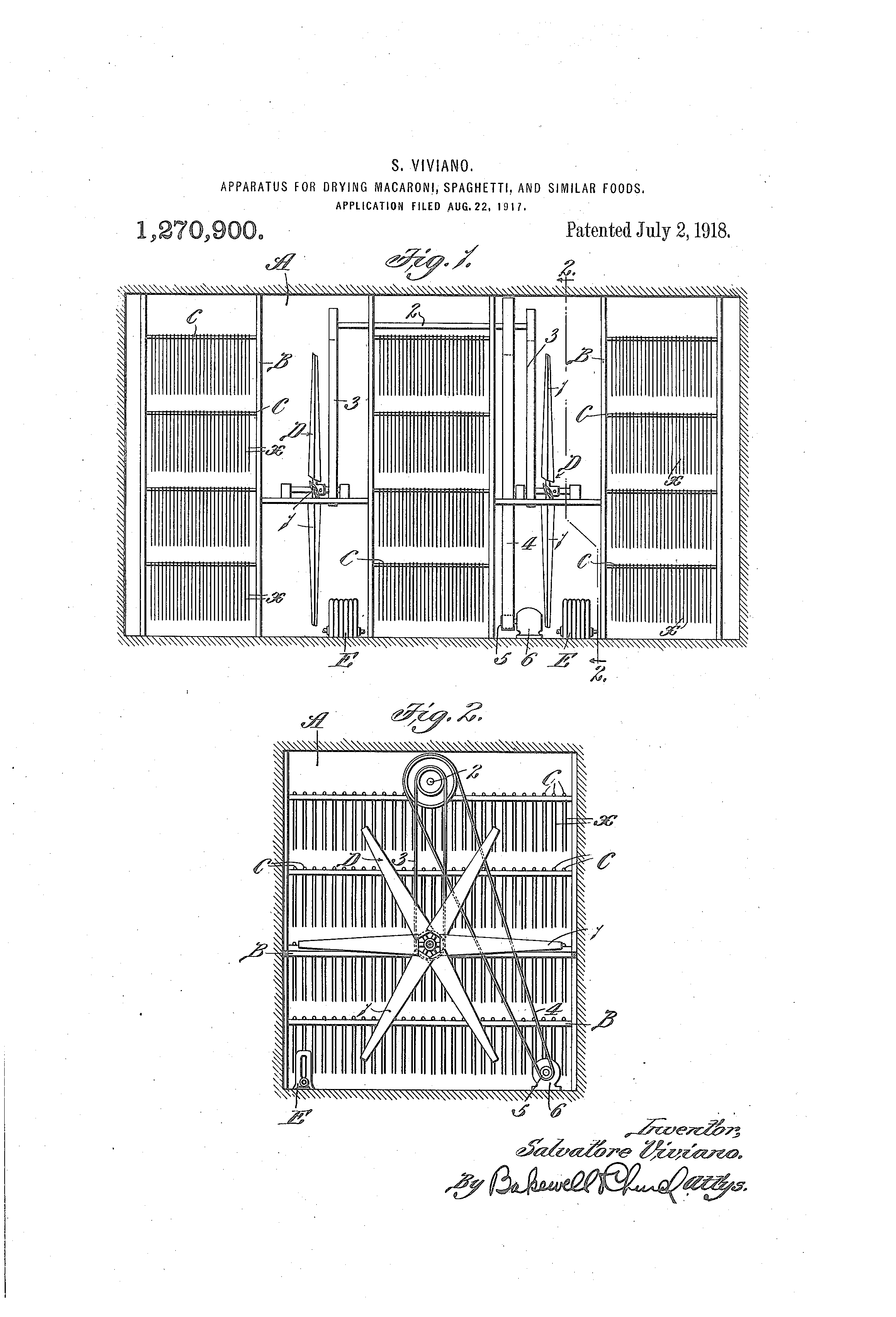 Patent US1270900 - Apparatus For Drying Macaroni, Spaghetti, and Similar Foods. Salvatore Viviano, Inventor