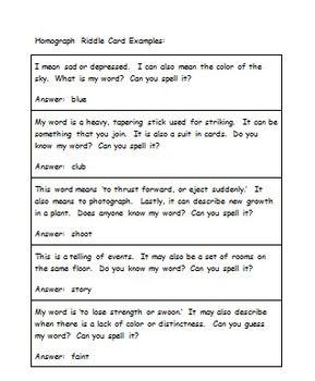 Homograph Riddle Cards Homographs English Stories For Kids Riddles