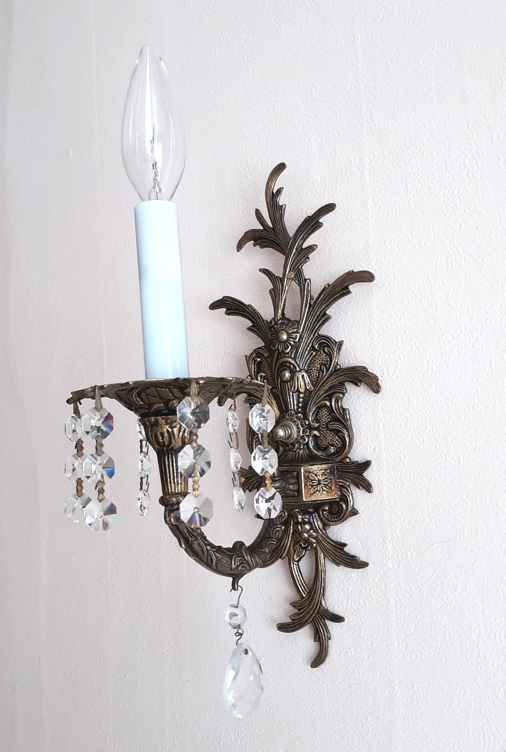 Vintage Unique Solid Brass American Rococo Revival Victorian Etsy In 2020 Victorian Wall Sconces Hanging Crystals Electric Wall Sconce