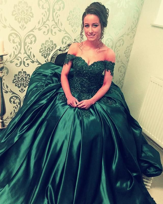 Lace Appliques Beaded Off The Shoulder Satin Prom Ball
