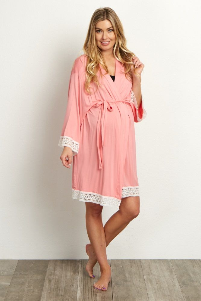 c71ea59dd6c Pink Lace Trim Delivery Nursing Maternity Robe