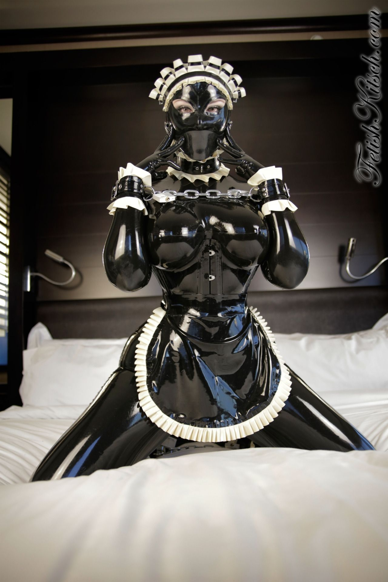 Leather fetish maid hood