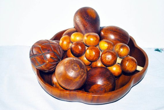 Vintage Handcrafted Bowl and Fruit Monkey Pod by GinasCornerCrafts, $24.99