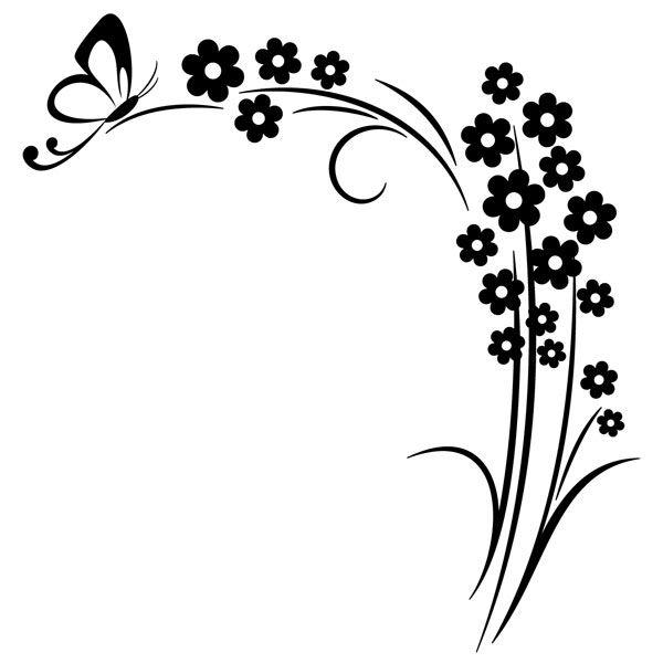 Vinilos Decorativos Floral Esquina Y Mariposa Silueta De Mariposas Flores Garabateadas Disenos De Arte Bordados A Mano