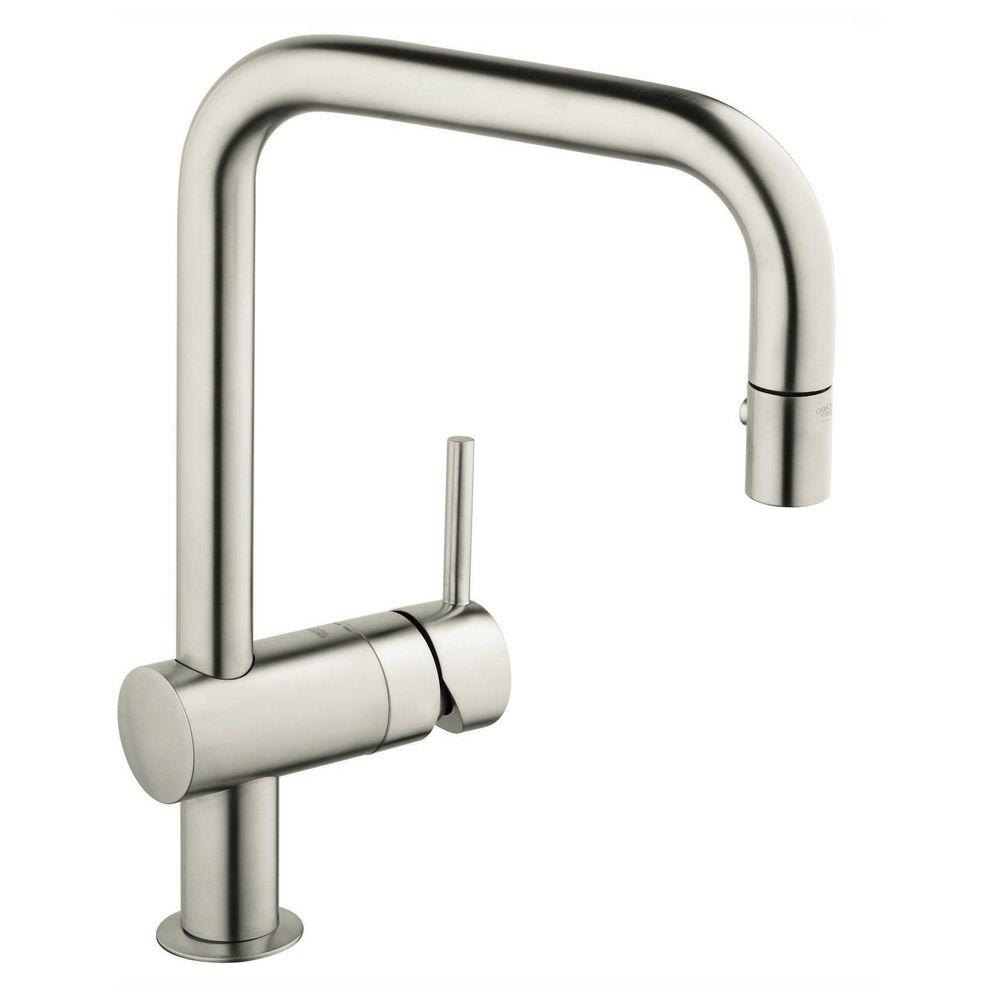 GROHE Minta Single-Handle Pull-Out Sprayer Kitchen Faucet in Super ...