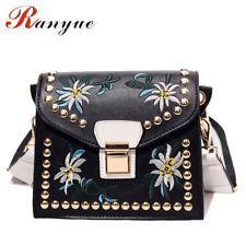 Fashion Women Leather Messenger Bag Flower Handbag Ladies Small Crossbody Bags W