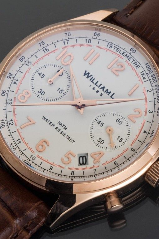 1b70fc290 William L. 1985: Vintage Style Chronograph - Rose Gold - Brown Buffalo