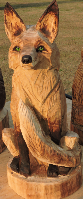 Fox chainsaw carving lawn decoration art wood