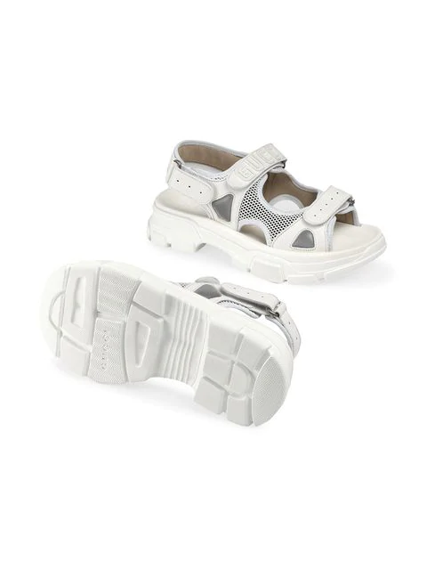 Gucci Leather And Mesh Sandals In White Leather Modesens In 2020 Gucci Leather Leather White Shoes Women