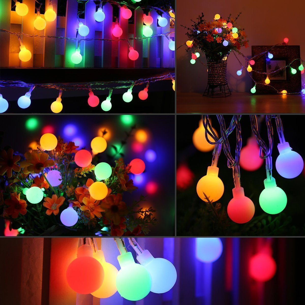 Le Led String Lights 33ft 100 Multi Color Waterproof Globe Bulbs 8 Lighting Modes Timer Fairy Light Bulb Garden Patio Party Wedding
