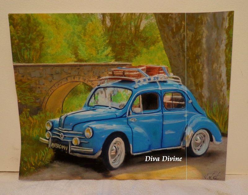 peinture pastel sec pour tableau vintage 4cv voiture vacances peint a la main dessin. Black Bedroom Furniture Sets. Home Design Ideas