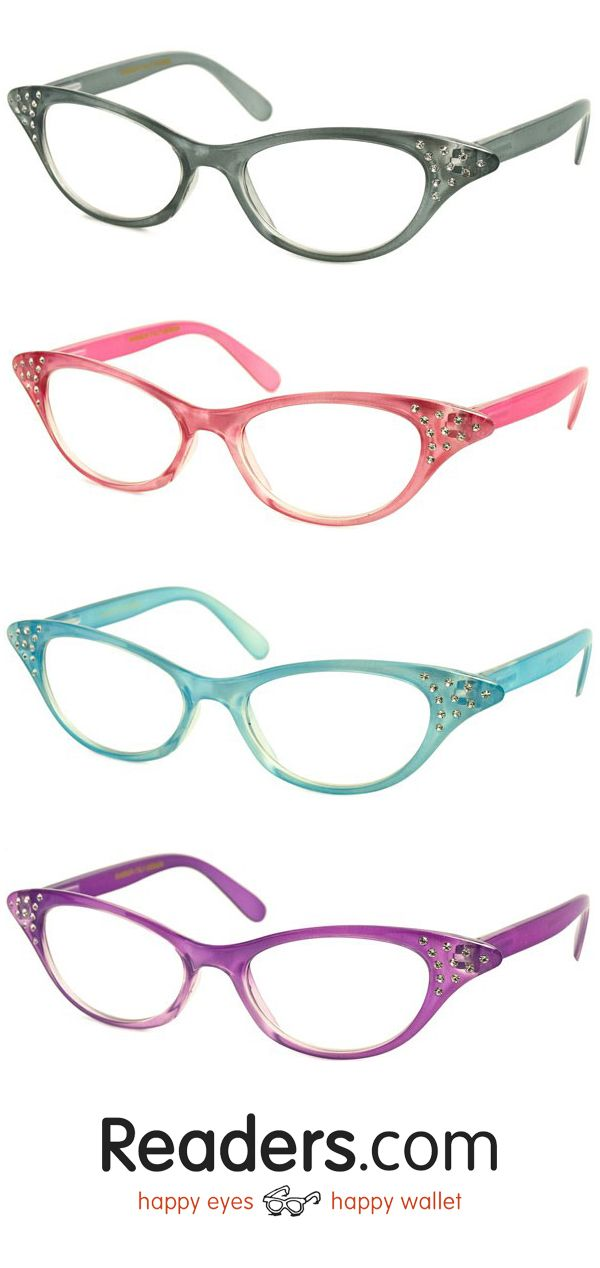 f7bfae80c11 Get ready for the sock-hop with these retro readers! The Betty has a  cat-eye retro frame with rhinestone accents that really sparkle.