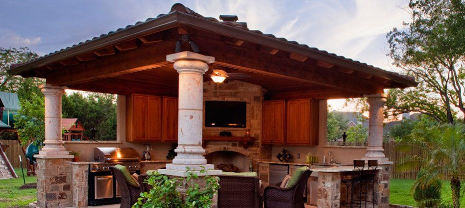 covered outdoor kitchens with pool. covered patio cabana with outdoor fireplace austin Covered Outdoor Kitchens  an and