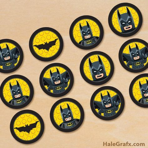 It is a picture of Batman Cupcake Toppers Printable regarding birthday
