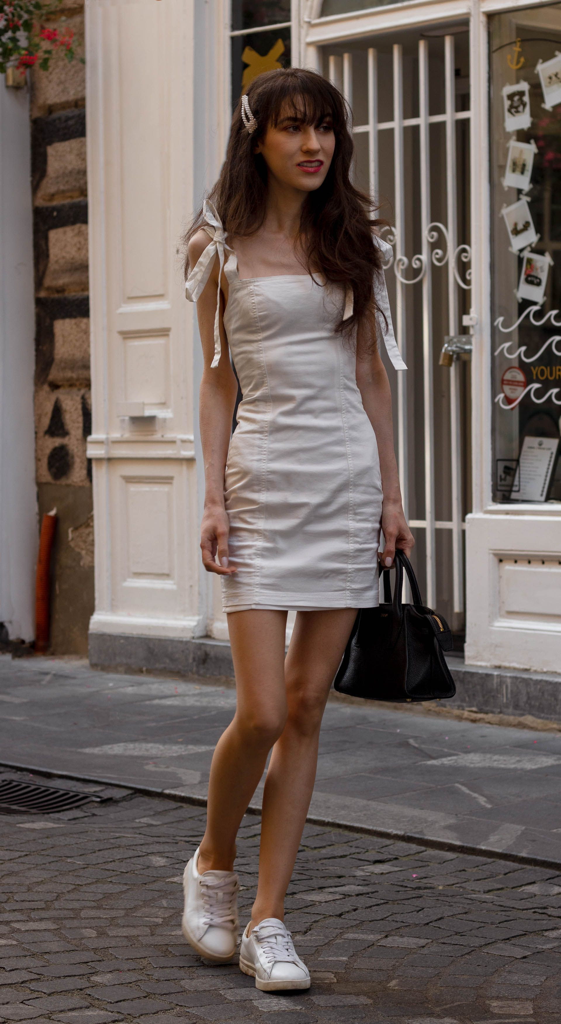 How To Style Mini Dress With Sneakers Brunette From Wall Street Dress With Sneakers Mini Dress Summer City Fashion [ 3500 x 1920 Pixel ]