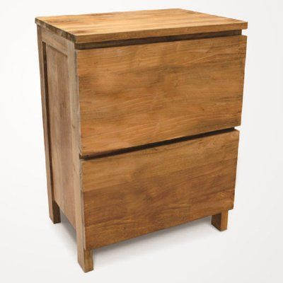 NES Furniture Simplie Solid Teak Wood 2 Drawer Accent Chest