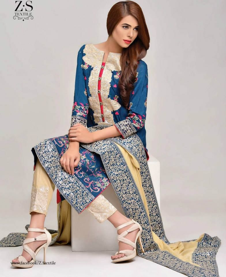 Areeba Saleem Vogue Winter Collection 2016 By ZS Textiles Peach Leather & Jacquard Shawl (5)