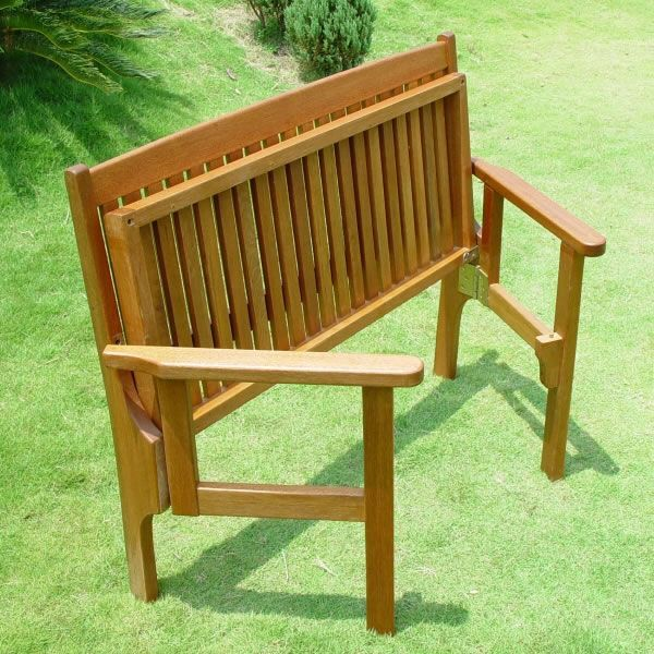 Hokku Designs Revionna Two Seat Bench With Storage: Foldaway Two Seat Beautiful Keruing Hardwood Garden