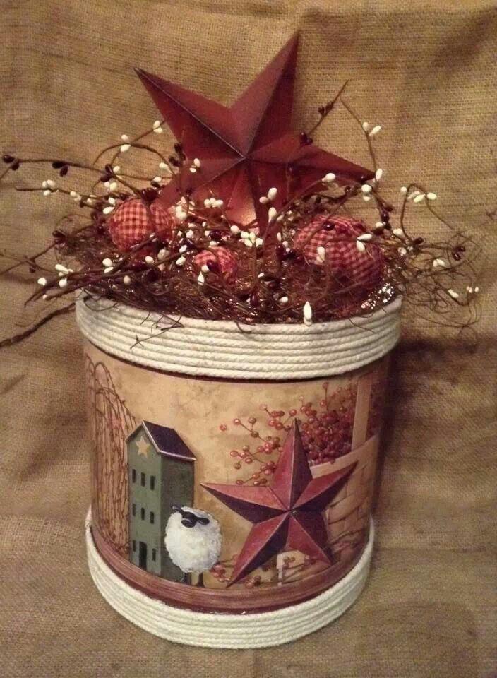 Popcorn Tin Craft Ideas Primitive Crafts Coffee Can Crafts