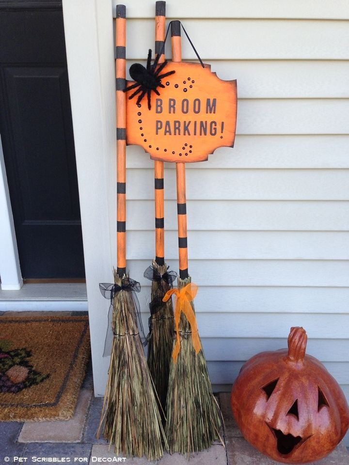 Broom Parking Halloween Decor #halloweendecorations
