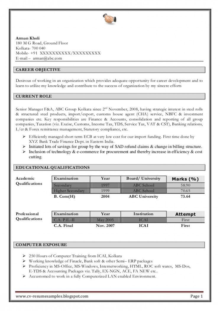 14 Resume For Semi Certified Ca Pupil Di 2020