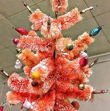 Vintage Pink Bottle Brush Musical Christmas Tree w/ Mercury glass candles bulbs