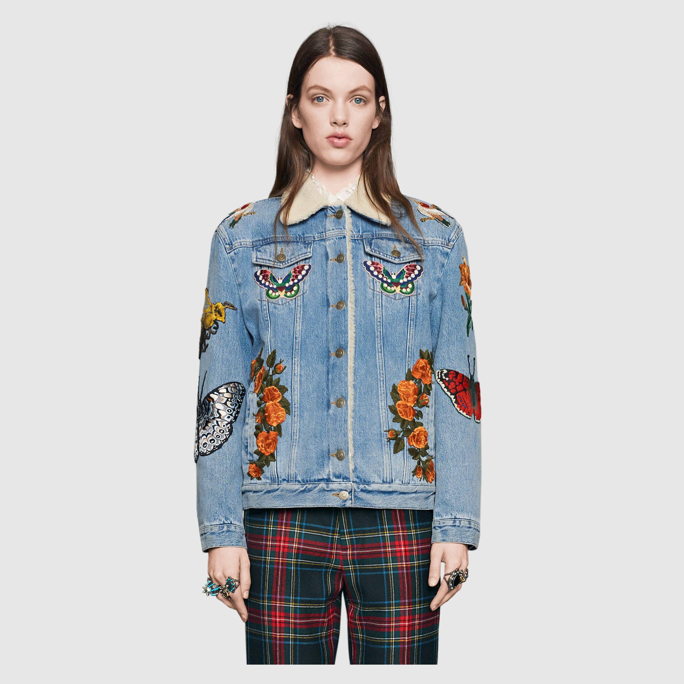 LRT Womens Denim Jacket Embroidered Floral Jean Jacket (XS, Blue)