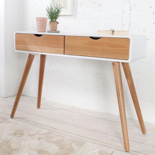 retro konsole scandinavia wei eiche 100cm mit 2 schubladen konsolentisch in m bel wohnen. Black Bedroom Furniture Sets. Home Design Ideas