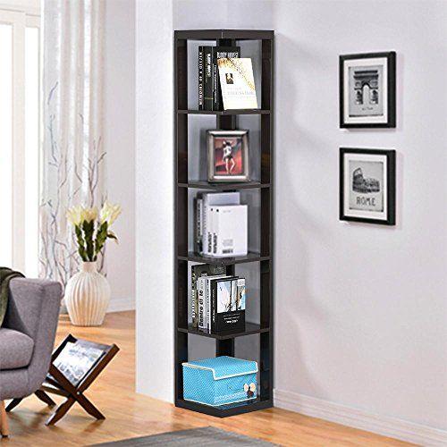 Yaheetech 5 Tier Espresso Finish Wood Wall Corner Shelf Slim BookshelfBookcase Tall Display Rack
