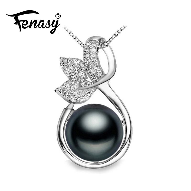 Fashion Jewelry 925 Sterling Silver Black Freshwater Pearl Leaf Pendant Necklace