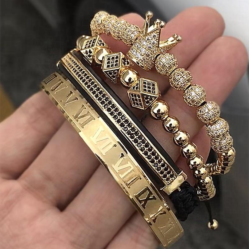 Vintage Men/'s Cubic Zircon 24kt Gold Plated Crown Bracelet Bead Fashion Bracelet