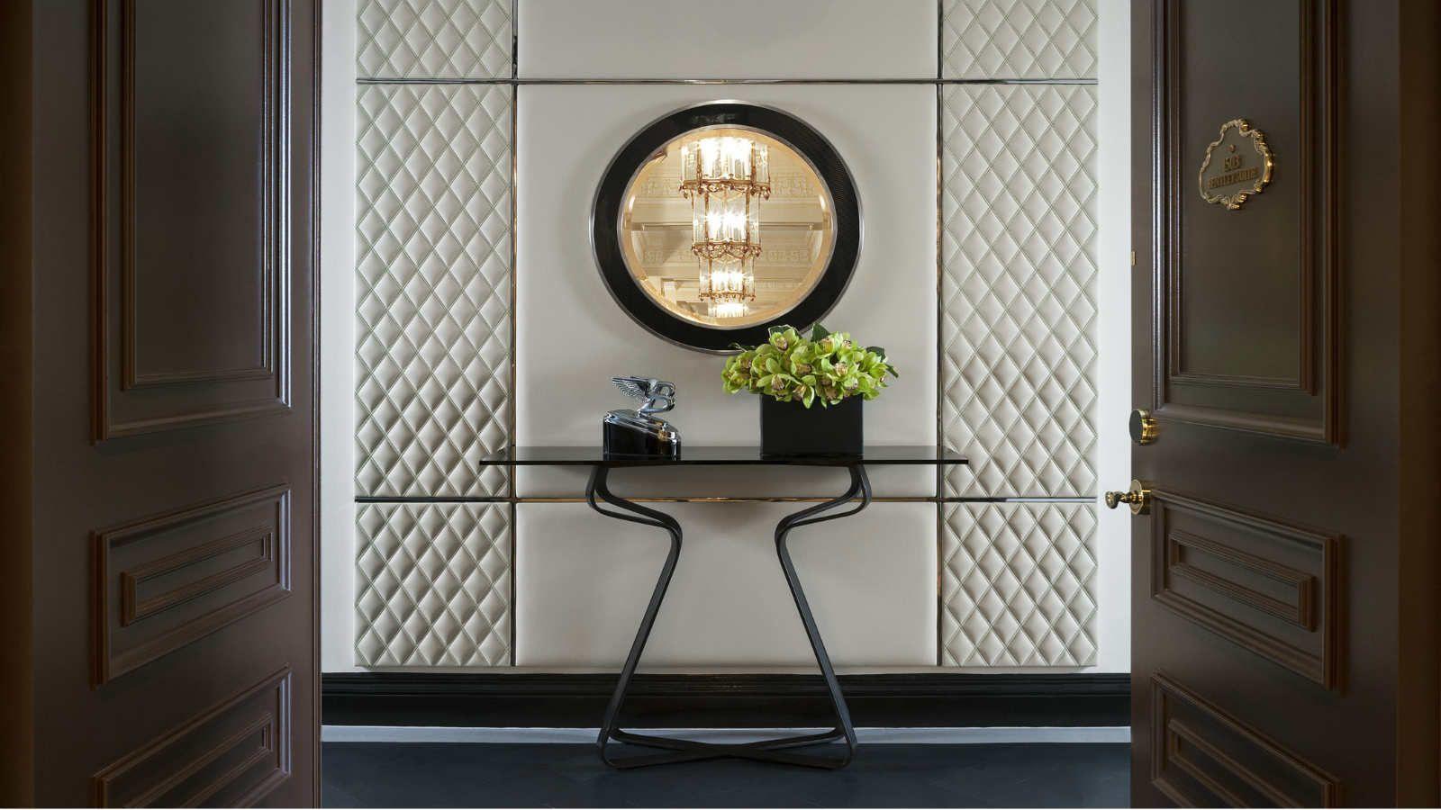 The st regis new york bentley suite entrance for Hotel foyer decor