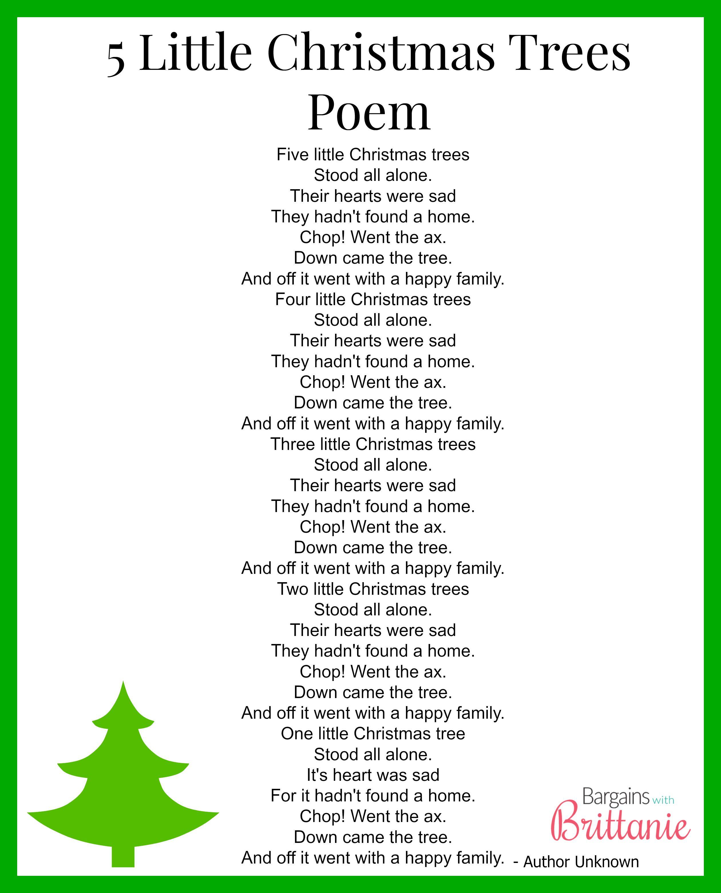 5 Little Christmas Tree Printable Kinderpondjr