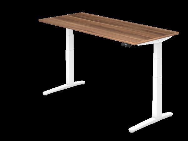 Sitz Steh Schreibtisch Elektrisch 180x80cm Zwetschge Weiss Mit