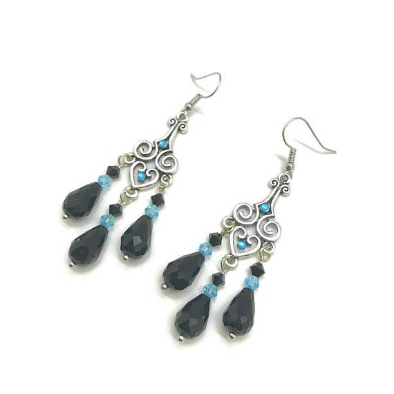 Black chandelier earrings black and blue earrings black crystal black chandelier earrings black and blue earrings black crystal earrings crystal chandelier earrings black earrings long black dangle mozeypictures Image collections